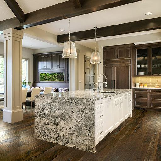 Dark wood floors in the kitchen