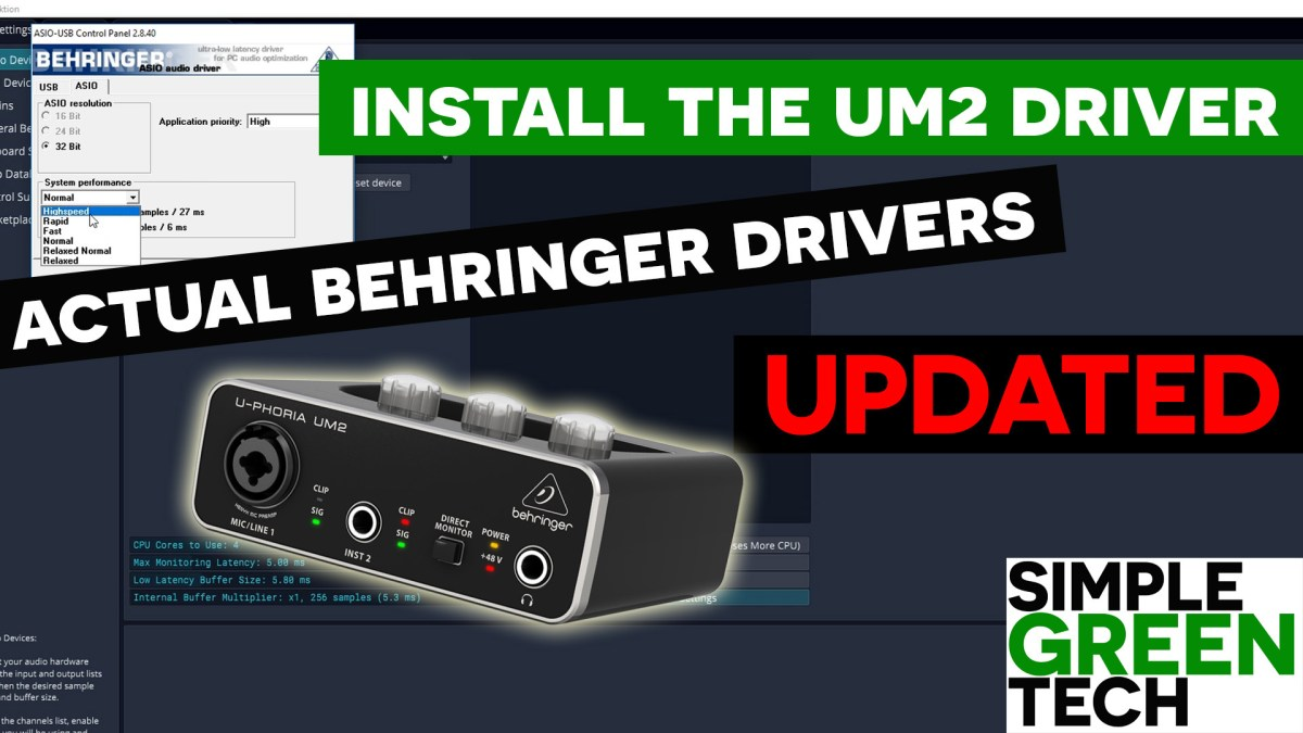Behringer UM2 Windows 10 Driver Install and Latency Settings