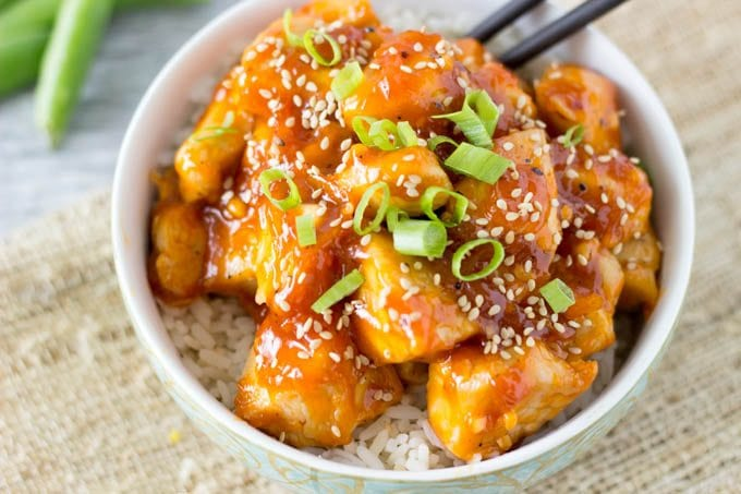 skinny sesame orange chicken -All of the sweet orange chili glazed goodness with just a fraction of the calories. Ready in less than 30 minutes.