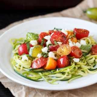 Zucchini Noodles with Heirloom Tomatoes and Feta