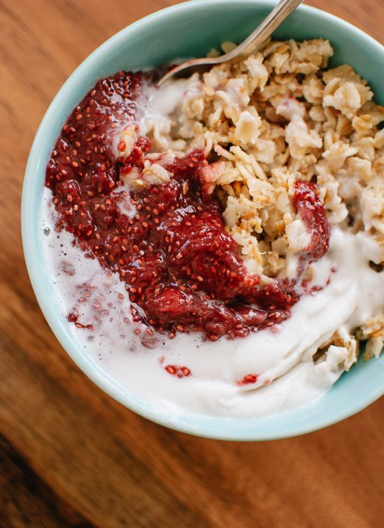 toasted-oatmeal-with-strawberry-chia-jam-and-coconut-whipped-cream-recipe cookie and kate