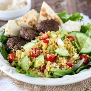 Mediterranean Quinoa Salad with Spiced Mini Burgers