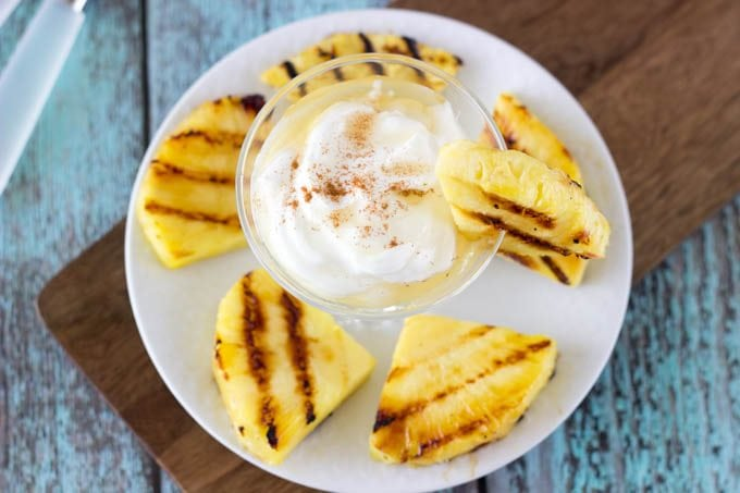 grilled fruit and honey cinnamon yogurt- simplehealthykitchen.com  #pineapple