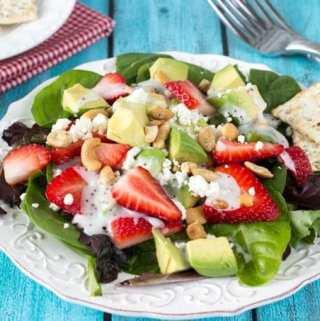 Strawberry Avocado and Feta Salad + Poppy Seed Dressing