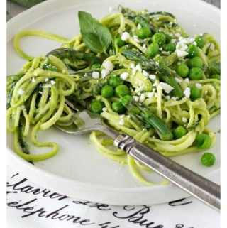 "Zucchini Noodles ""Zoodles"" with Walnut Avocado Pesto"