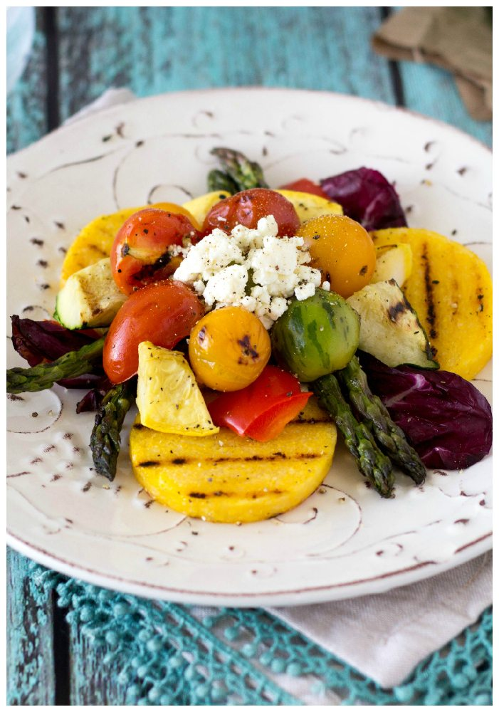 grilled polenta with veggies and feta