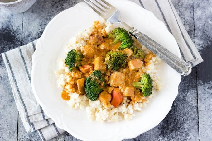 red curry with tofu and veggies -simplehealthykitchen.com