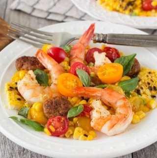 Shrimp & Grilled Corn {with Chorizo}