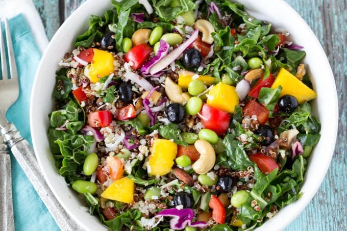 superfoods power salad with creamy cashew dressing- Simplehealthykitchen.com # quinoa # mango # blueberries