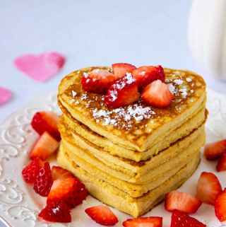 High Protein Oatmeal Pancakes Heart Shaped Valentines Day