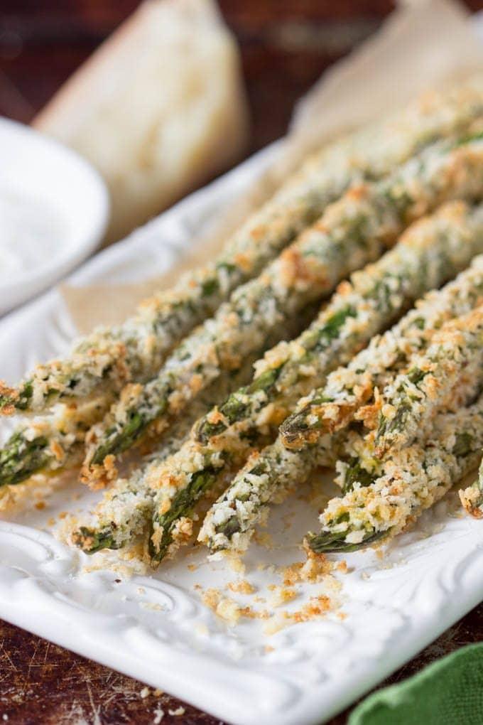 Asparagus Fries Creamy Parmesan Dipping Sauce Simple