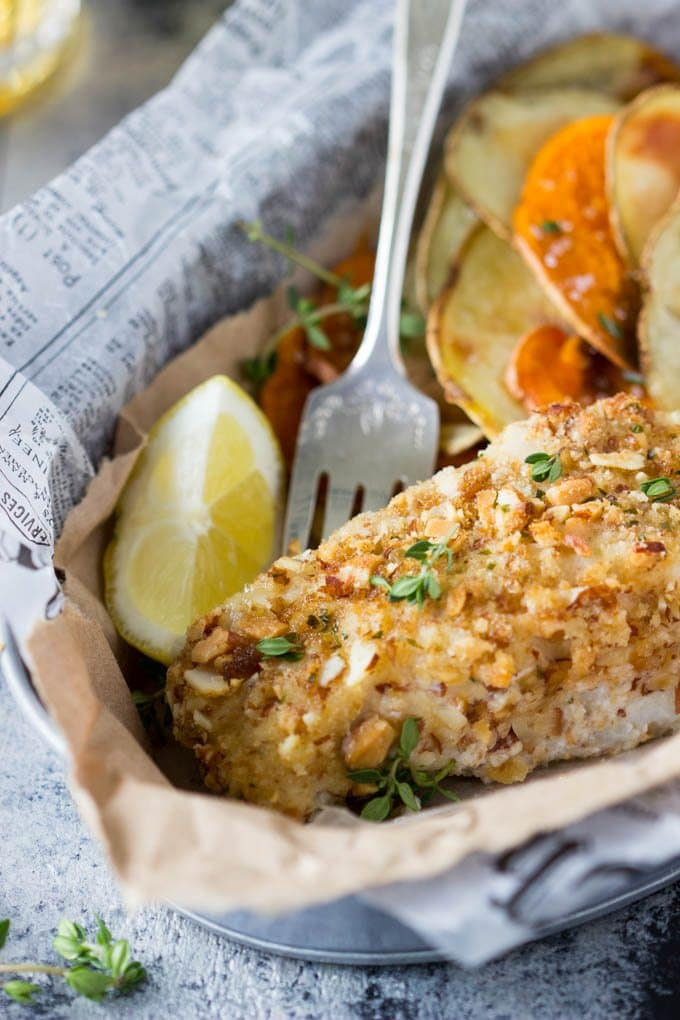 Healthy Oven Baked Fish and Chips- A lightened up version of the classic.