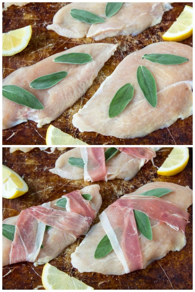 lemon chicken saltimbocca collage