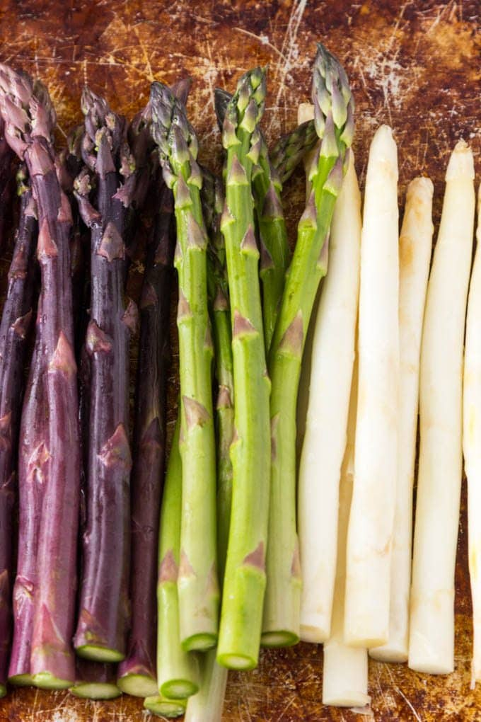 Purple, Green and White Asparagus | Tricolor Asparagus Risotto