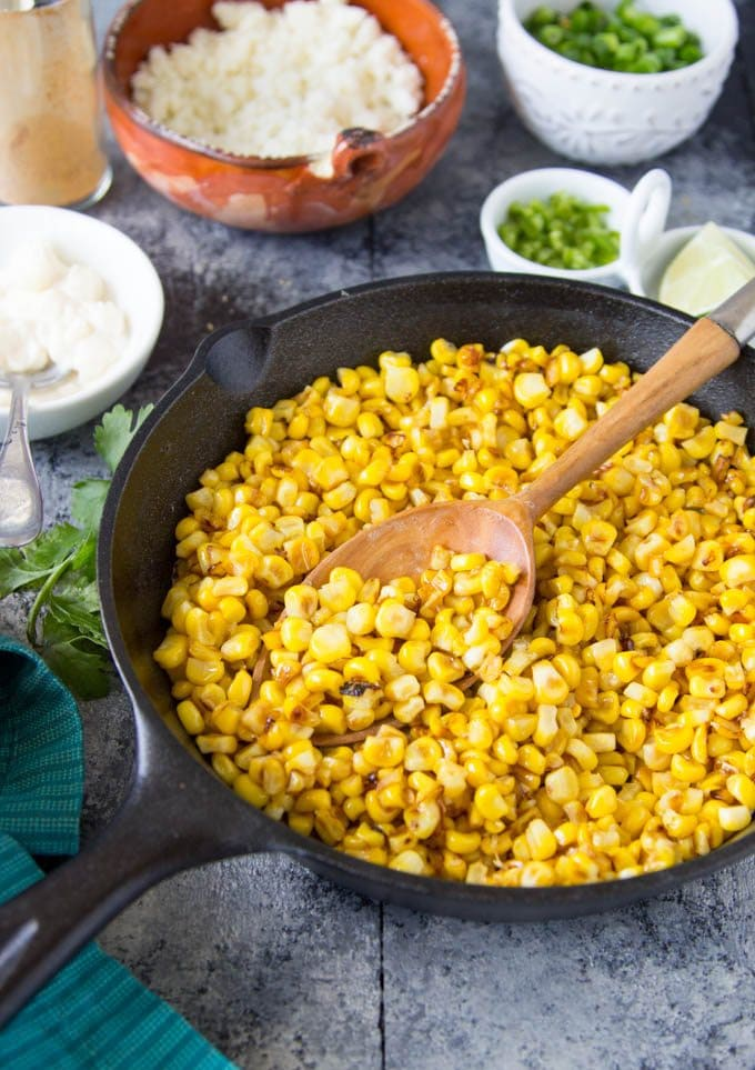 skillet-mexican-street corn cooking