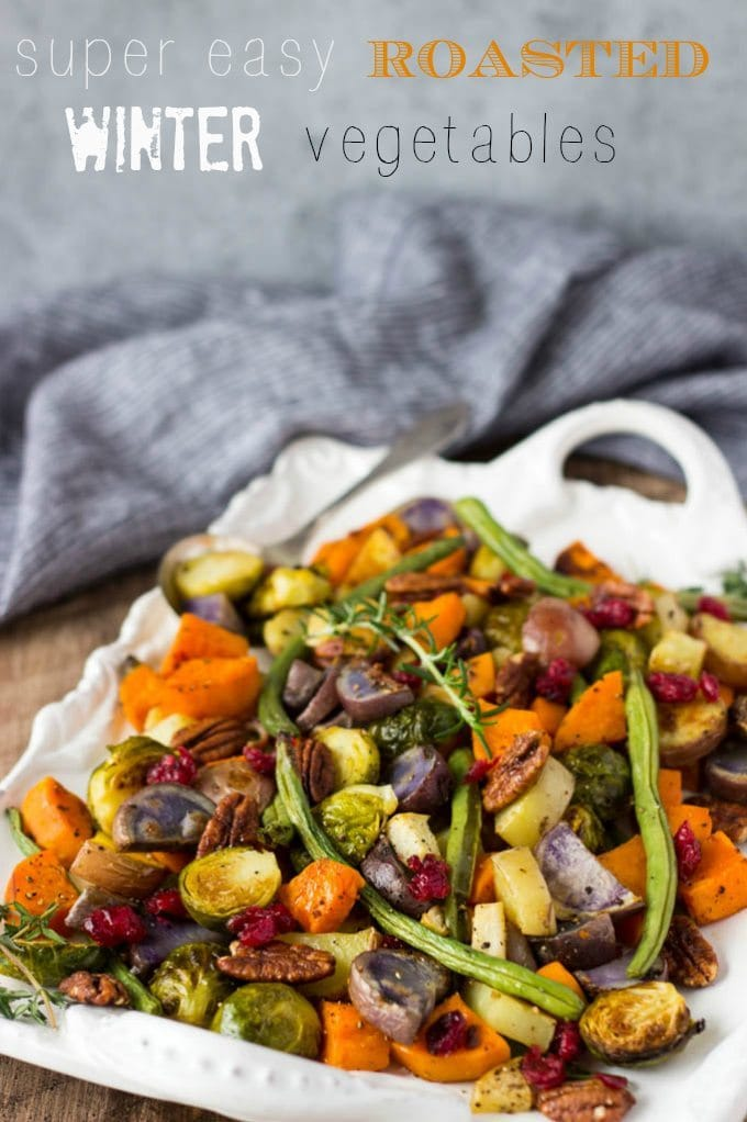 Super Easy Roasted Winter Vegetables- Fancy enough to serve as part of your Holiday meals. Easy enough to make any day! {vegetarian, vegan,GF, clean- eating}  simplehealthykitchen.com