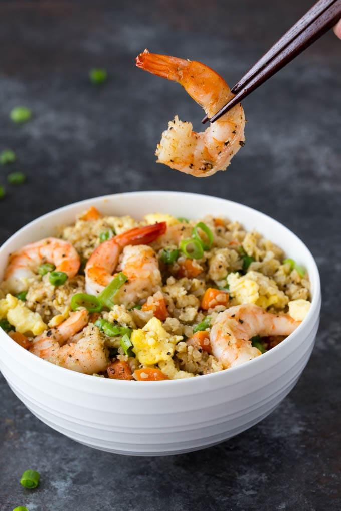 shrimp fried cauliflower rice with shrimp