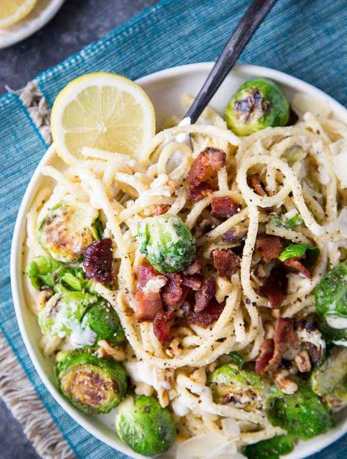 Creamy Lemon Parmesan Pasta with Pan Roasted Brussels Sprouts