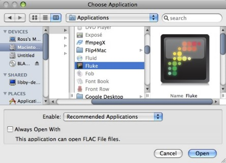 opening flac files with fluke
