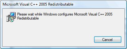 ms visual c++ redistributable pacakge installing