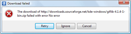 kde download error