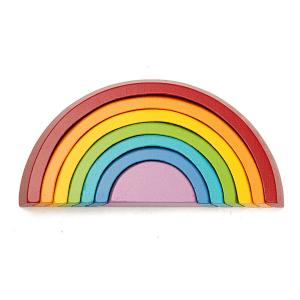 Arc-en-ciel en bois empilable 7 couleurs - Montessori