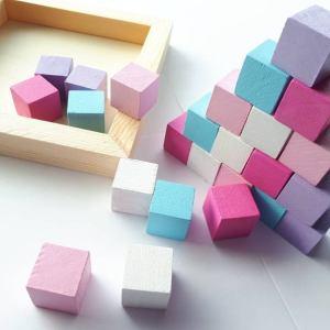 25 blocs de bois pastel
