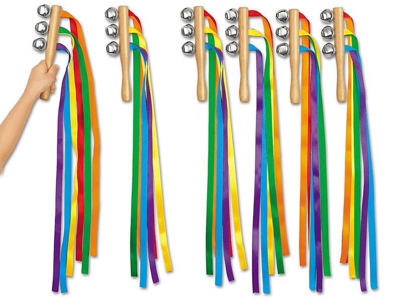 Hochet musical avec rubans multicolores