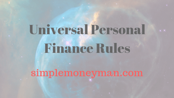Universal Personal Finance Rules simple money man