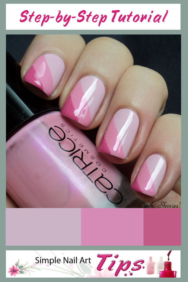 Ana Pink Striped Taped Nail Art Manicure Tutorial Step
