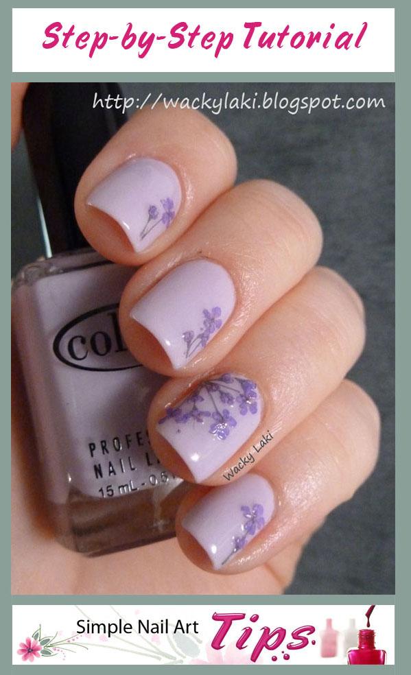 Lavender Dried Flower Nails E1336450901544 142x150 Nail Art Tutorial