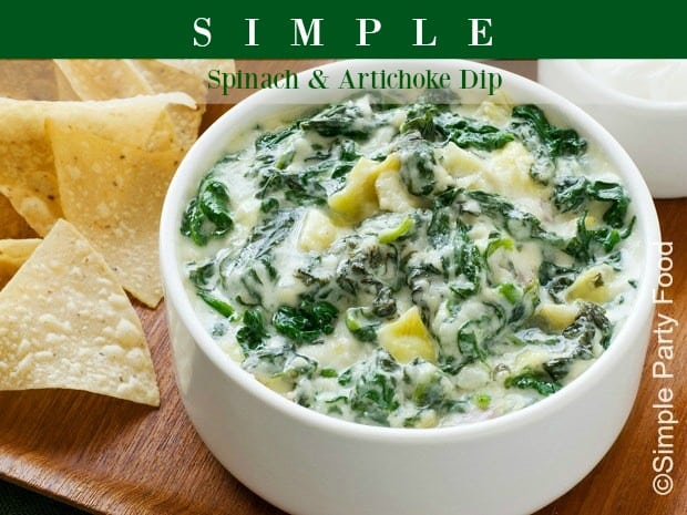 SIMPLE Spinach & Artichoke Dip - spinach and THREE cheeses is what sets this spinach dip apart! #spinachdip #dip #appetizers #gameday #simplepartyfood