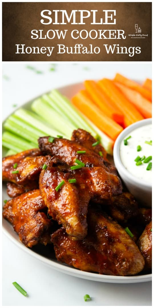 These wings are cooked in the slow cooker until tender, finished under the broiler or grill #wings #gameday #gamedayfood #simplepartyfood