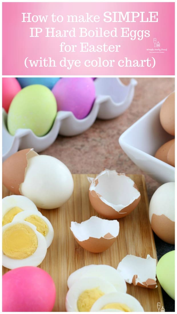How to make Instant Pot Hard Boiled eggs for Easter with color chart #eastereggs #coloreggs #easter #instantpot #hardboiledeggs #simplepartyfood