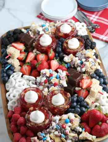 SIMPLE Patriotic Dessert Board - full of brownies, smores, fruit for a perfect ending to Memorial day or 4th of july