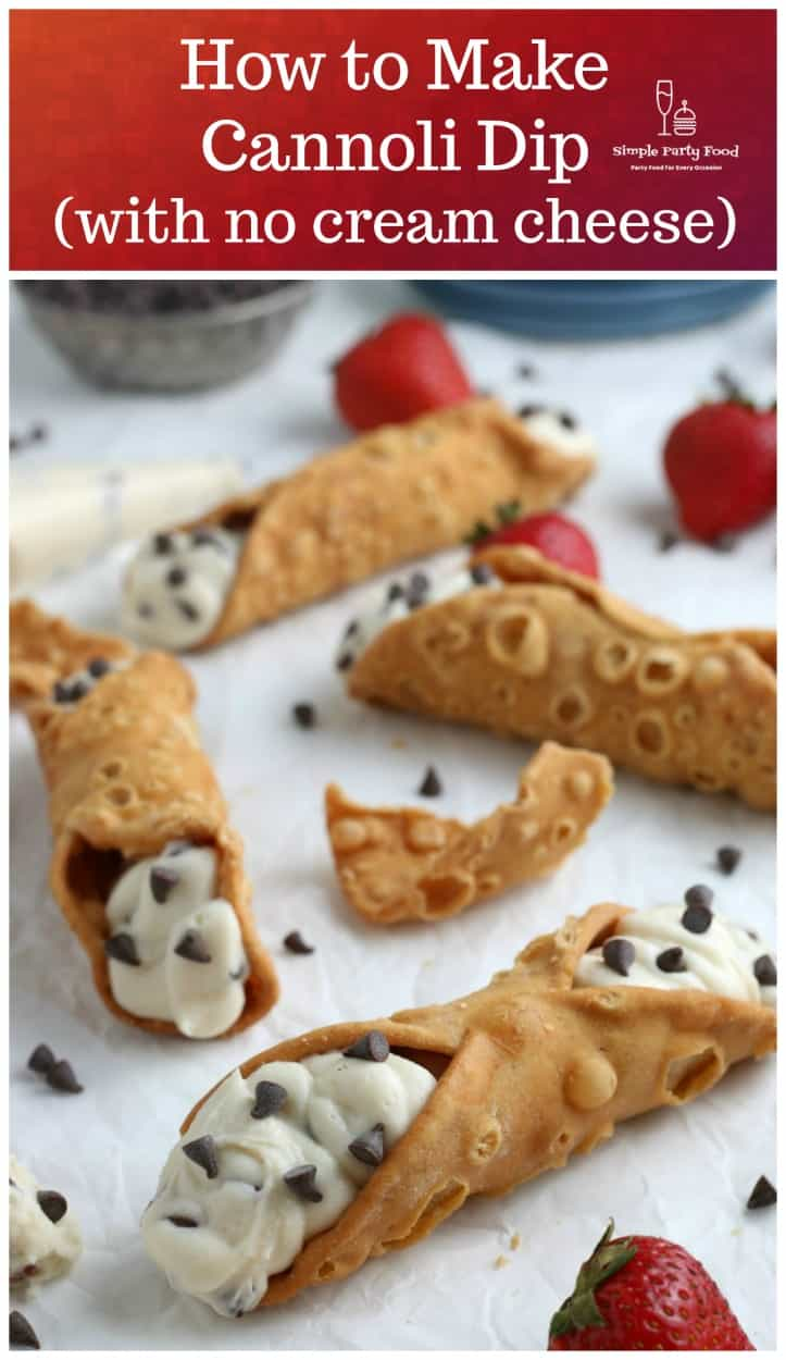 SIMPLE Cannoli Dip - ricotta cheese, powdered sugar, vanilla in fried pastry shells