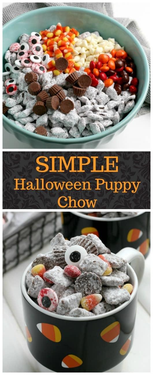 SIMPLE Halloween Puppy Chow - a spooky, delicious addictive Chex mix snack #halloweensnacks #muddybuddies #puppychow