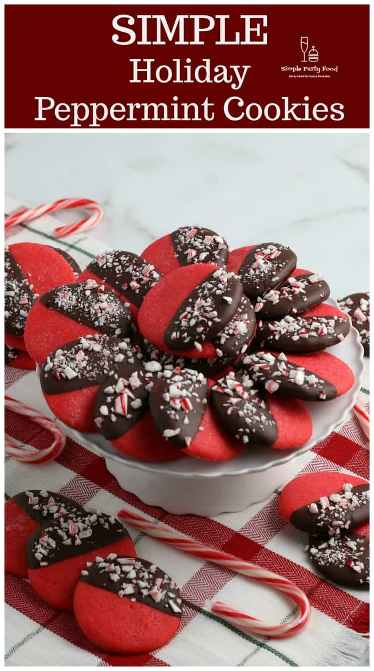 SIMPLE Chocolate Dipped peppermint Cookies are a festive holiday dessert