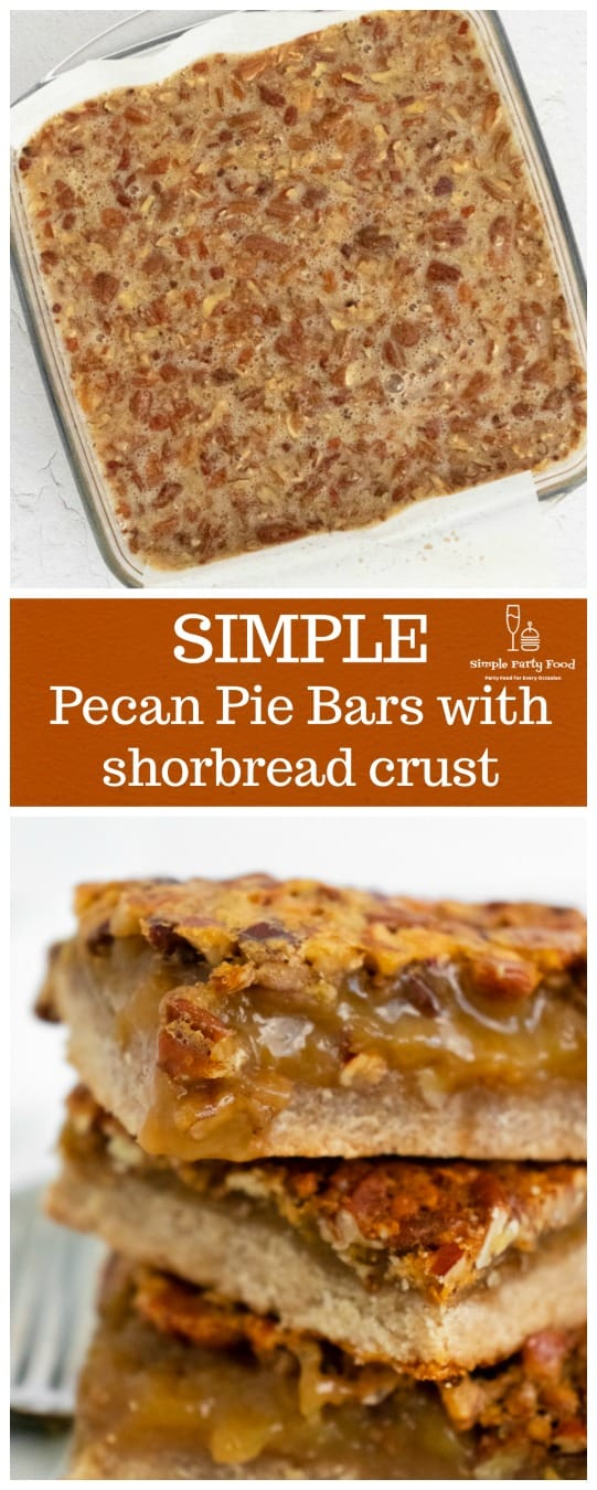 Why make a whole pecan pie when you can have the same delicious flavor in a bar with a shortbread crust #pecanpie #holidaydesserts #simplepartyfood