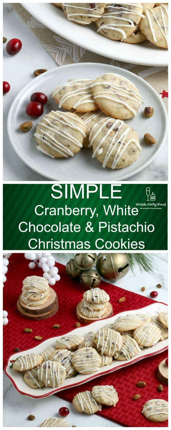 Need some cookies for the holiday cookie exchange that aren't overloaded in sugar and sprinkles - try these Cranberry Pistachio cookies #simplepartyfood