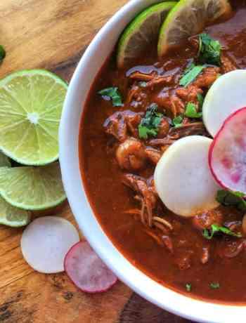 Pozole-Rojo-de-Pollo-is-a-spicy-warm-Mexican-soup-cincodemayo