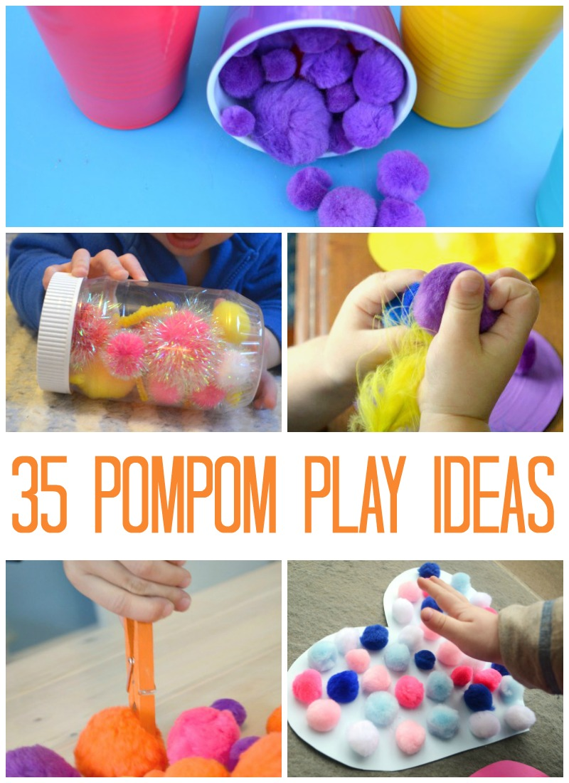 35 simple play ideas using pompoms!