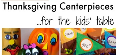 Thanksgiving centerpieces for the kids' table. Games, crayon holders, and cute crafts!