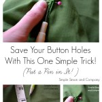 Sewing Tip: Pin the Button Hole
