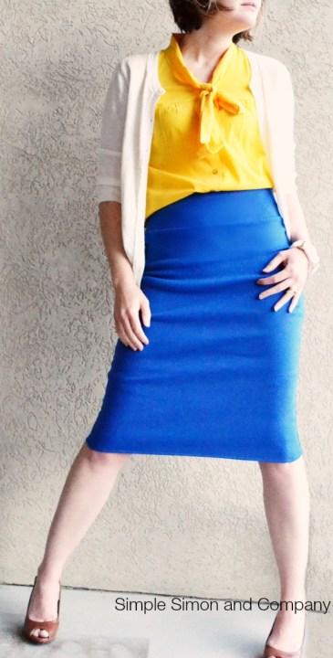 Pencil Skirt Knit Tutorial Blue