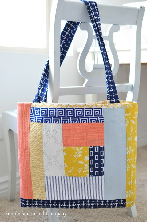 quilt as you go tote bag