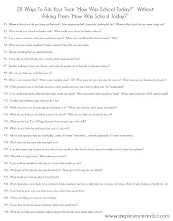 28 Ways to Ask Your Teen How Was School Today Printable