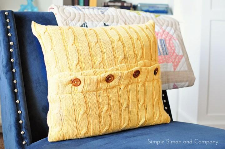 mustard sweater pillow