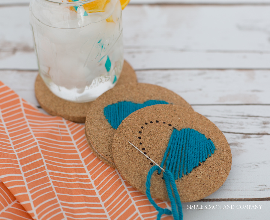 DIY Hand-stitched Drink Coasters - Simple Simon and Company