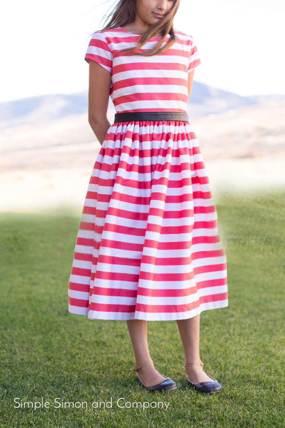 coral stripe dress Sunday Dress